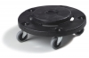Carlisle Flo-Pac® Round Container Dolly with Replaceable Casters - Black