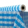 "Plastic Table Cover - 40"" x 300 ft, Blue Gingham"