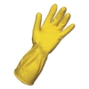 BOARDWALK Flock-Lined Latex Cleaning Gloves - Small, Yellow