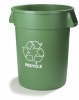 Carlisle Bronco™ Green Recycle Waste Container - 32 Gal.