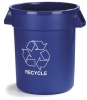 Carlisle Bronco™ Blue Recycle Trash Container - 44 Gal .