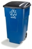 Carlisle Blue Recycle Rolling Container - 50 Gal.