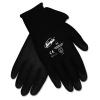 MCR Safety Ninja Hpt Pvc Coated Nylon Gloves - Large, Black, 12/PK