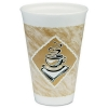 DART Café G® Foam Hot/Cold Cups - 16 Oz, White/brown w/ Green Accents, 25/PK