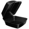 DART Foam Hinged Lid Containers - Black, 125/Bag, 4 Bags/Ctn