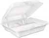 DART Carryout Hinged Lid Foam Food Containers - Large, 3-Comp, White