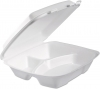 DART Foam Hinged Lid Containers - 3-Comp, White, 100/Bag, 2 Bag/Ctn