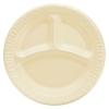 """DART Quiet Classic® Laminated Foam Dinnerware - Compartment Plate, 9"""" Dia., 500/CT"""