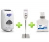 GOJO Sanitizer Station (1 Chrome Stand , 1 Touch free Dispenser & 1 Foam Refill) - Gojo Purell