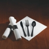 HOFFMASTER CaterWrap® Heavyweight Black Cutlery - 100 per case.