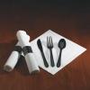 HOFFMASTER CaterWrap® Heavyweight Black Cutlery - 100 per case.