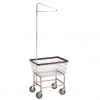 R&B Wire Standard Laundry Cart w/ Single Pole Rack - 2.5 Bushel