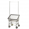 R&B Wire Front Load Laundry Cart w/ Double Pole Rack - 2.25 Bushel