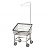 R&B Wire Front Load Laundry Cart w/Single Pole Rack - 2.25 Bushel