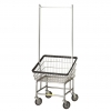 R&B Wire Large Capacity Laundry Cart w/ Double Pole Rack - 4.5 Bushel
