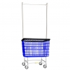 R&B Wire Large Laundry Cart w/ Double Pole Rack - 6 Bushel