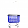 R&B Wire Large Laundry Cart w/ Single Pole Rack - 6 Bushel