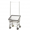 R&B Wire Large Capacity Front Load Laundry Cart w/Double Pole Rack - 3.75 Bushel