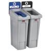 RUBBERMAID Commercial Slim Jim Recycling Station Kit - 46 GAL