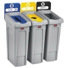 RUBBERMAID Commercial Slim Jim Recycling Station Kit - 69 GAL