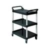 RUBBERMAID Three-Shelf Utility Cart with Brushed  Aluminum Uprights - Platinum