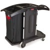 RUBBERMAID Compact Folding Housekeeping Cart - Black