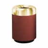 RUBBERMAID Open Top w/ Satin Brass Top Waste Receptacle - 36 Gal.