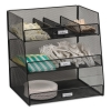 Safco Onyx™ Breakroom Organizers - 3 Compartments,14.625x11.75x15, Steel Mesh, Black