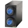 SAN JAMAR  EZ-Fit® Beverage Dispenser Cabinet - (2) C2410C w/ Black Trim Rings