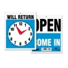 US STAMP Headline® Sign Double-Sided Open/Will Return Sign with Clock Hands -